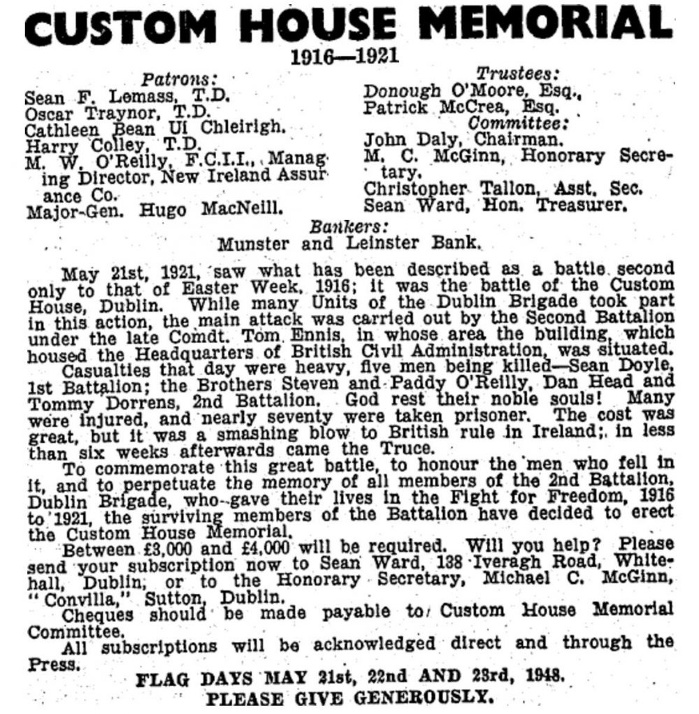 CH 1948 memorial notice-page-001 Burning of Dublin Custom House 1921