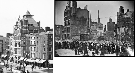dbc-before-after Burning of Dublin Custom House 1921