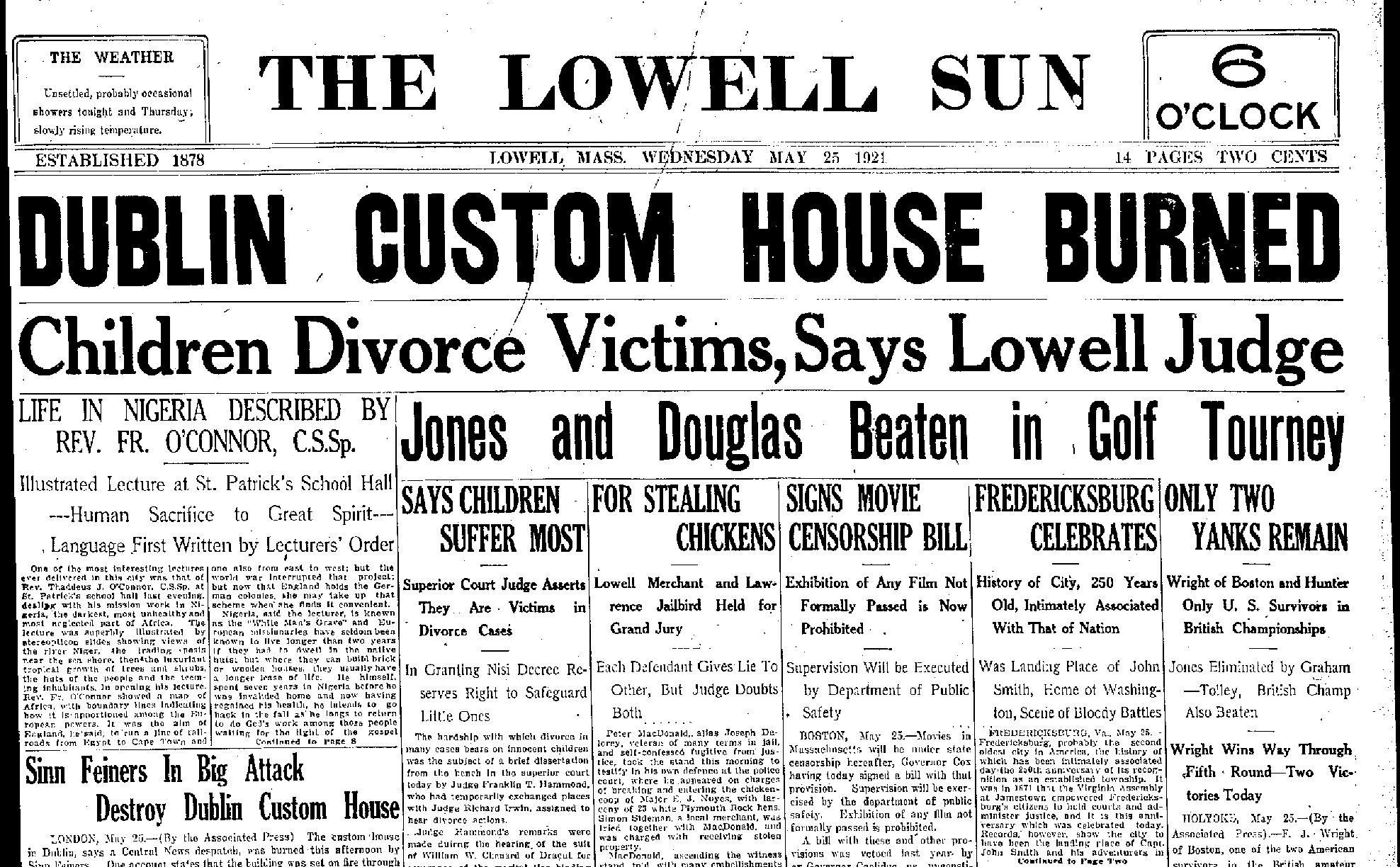 lowell-sun-may-25-1921-page-001 Burning of Dublin Custom House 1921