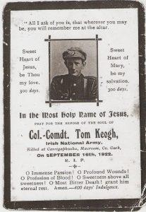 Tom Kehoe mass card Burning of Dublin Custom House 1921