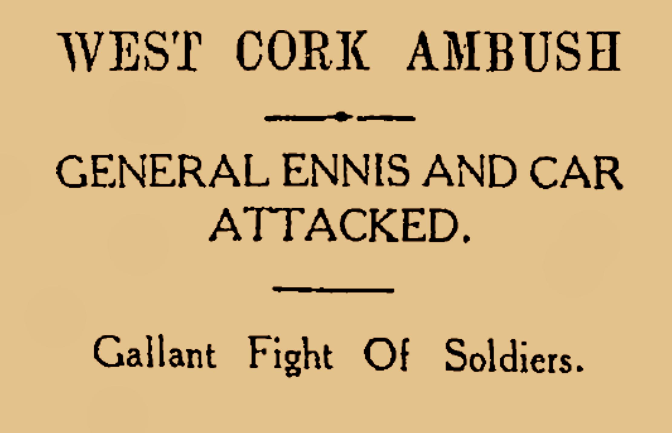 Ambush in Cork0 Burning of Dublin Custom House 1921