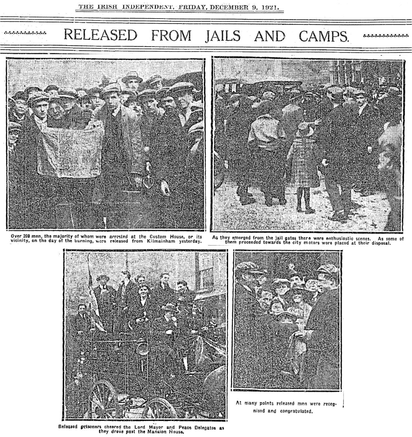 Kilmainham men released (Indo 9-12-1921) Burning of Dublin Custom House 1921