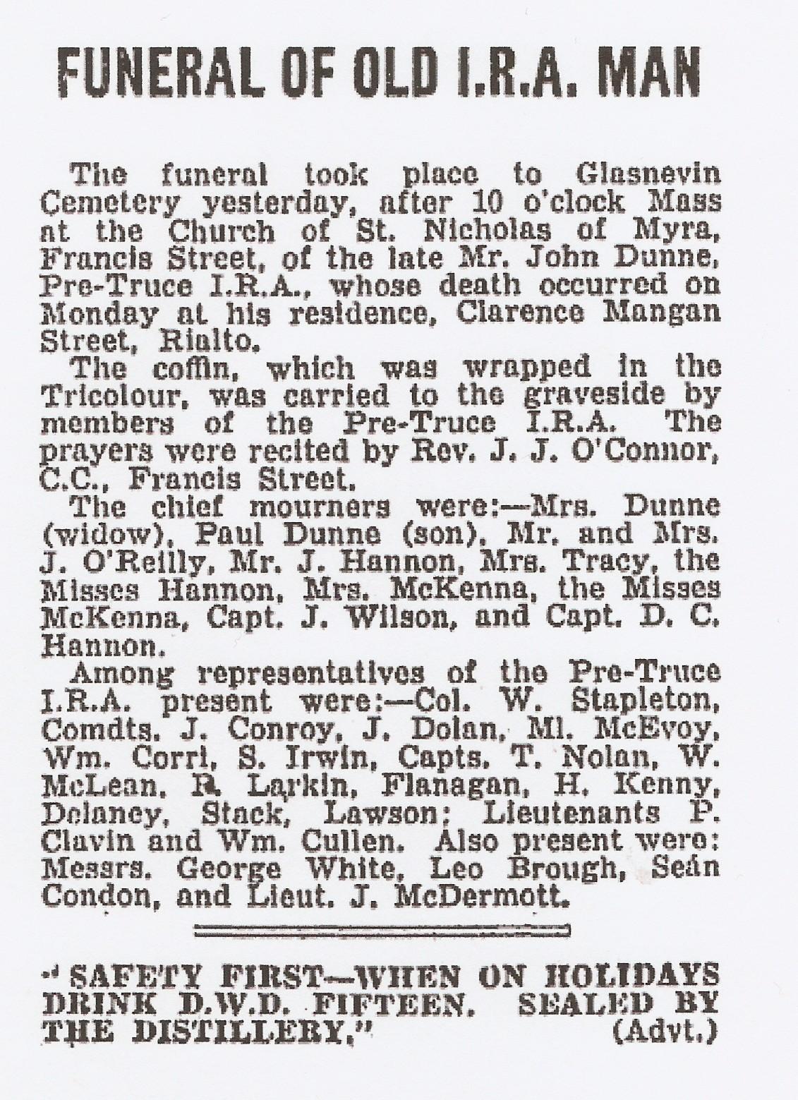 dunne funeral-1 Burning of Dublin Custom House 1921