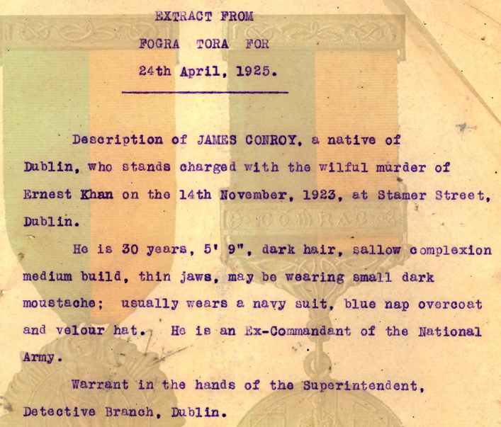Jim Conroy - Wanted Burning of Dublin Custom House 1921