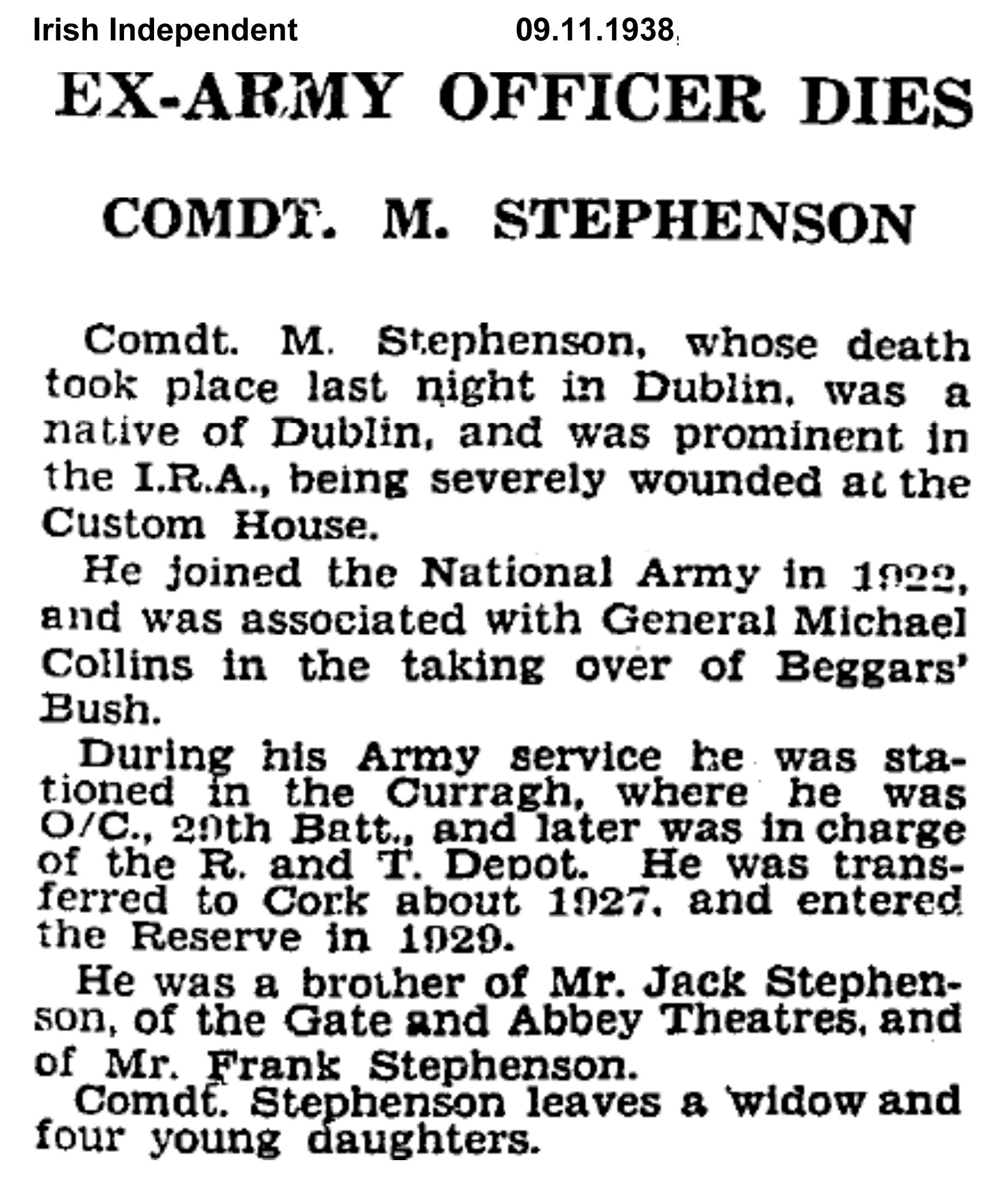 Obit1 Burning of Dublin Custom House 1921