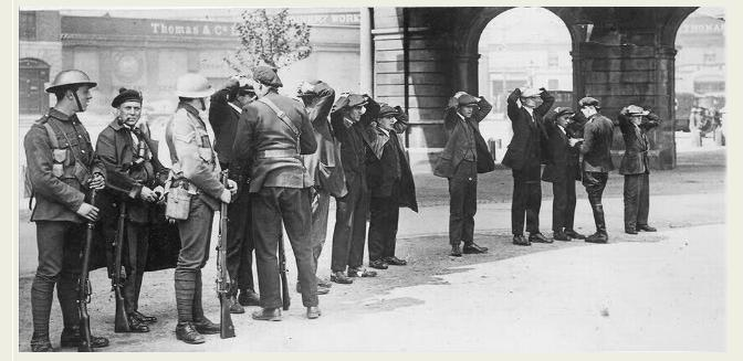 A line being searched- Burning of Dublin Custom House 1921