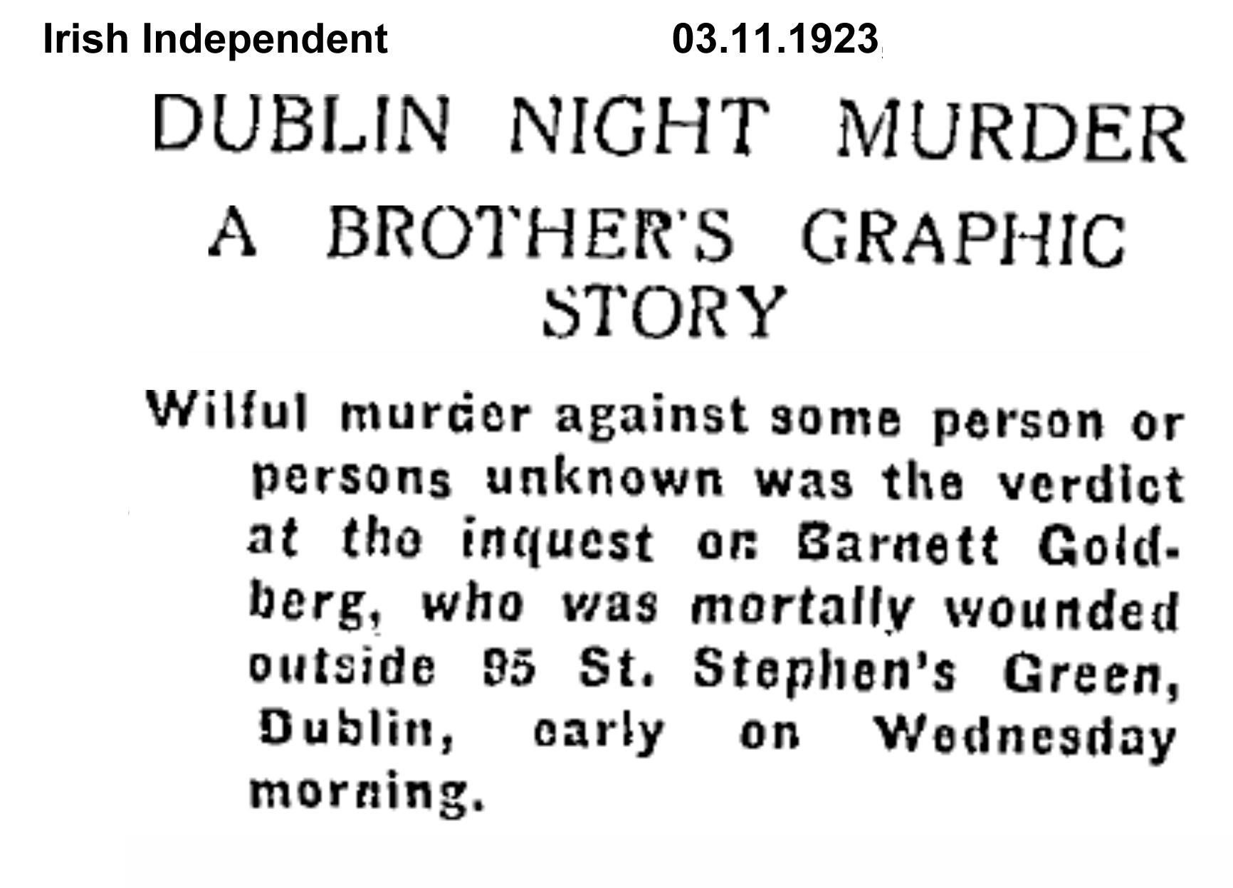 Goldberg inquest Burning of Dublin Custom House 1921